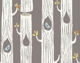 Birch Circa52 - Tree Stripes shroom- Organic Cotton Fabric  low shipping