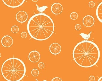 Birch MOD BASICS Birdie Spokes Orange- Organic Cotton Fabric- Check Out These Shipping Rates