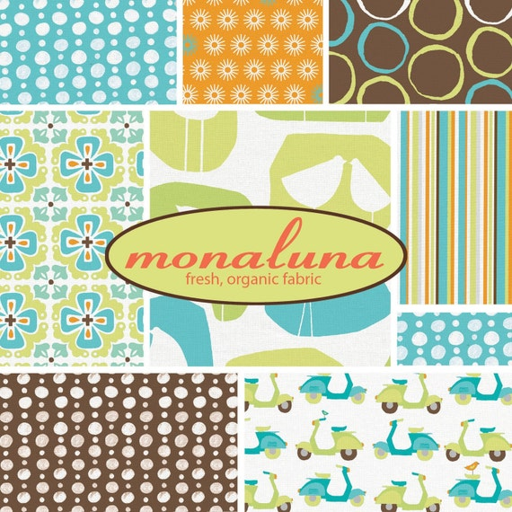 MONALUNA Monaco Organic Cotton Fabric FAT QUARTER Bundle - 1 3/4 yds total-  low shipping