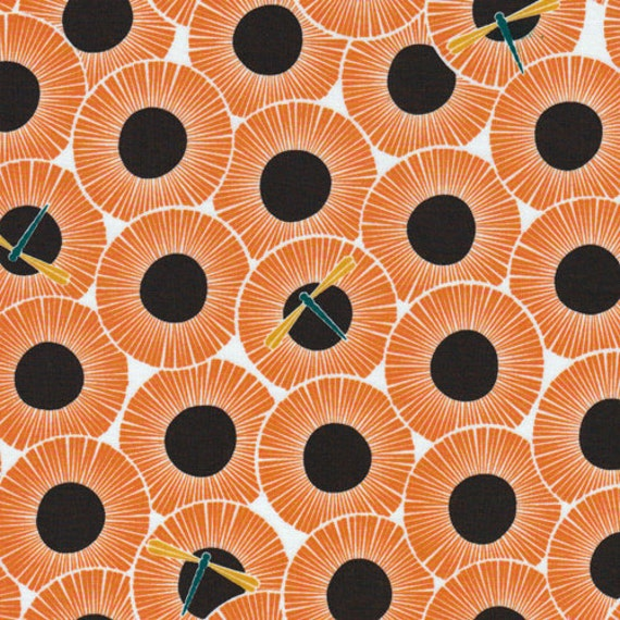 SALE Cloud9 -Across The Pond- Aster PUMPKIN  organic cotton fabric  - low shipping