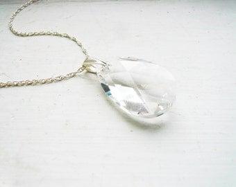 Swarovski Clear Crystal Teardrop Necklace