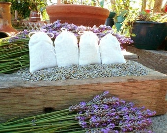 Organic Lavender Sachets in muslin bags, rustic wedding favor