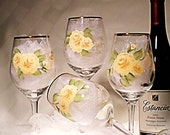 Hand Painted Wine Glasses - SALE PRICE - Amber and Caramel Roses and Baby's Breath  Set of FOUR