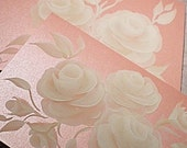Hand Painted Greeting Cards - Rose Pearl with Hand Painted Roses - Set of FOUR - Fine Quality Pearlized Card Stock