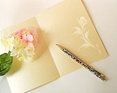 Note Cards Stationery - Hand Painted Ivory Roses on Pearlized Champagne Card Set of FOUR - Fine Quality Card Stock A6