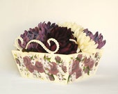 ARTIST MOVING SALE Hand Painted Wooden Box - Antique White, Merlot Purple Roses, Berries, Snowy Branches - Wire Handles - Storage Vanity
