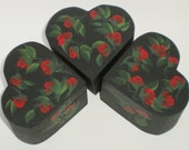 ARTIST MOVING SALE Hand Painted Heart Ring Boxes - Ebony Black with Striking Red Rose Buds Set of 3 - Check out the price