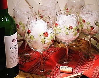 Large Hand-Painted Wine Glasses - Classic Red Rose Buds Green Stems Set of 2 - Wedding Gift Ideas Housewarming Gifts Wine Lover Gift Ideas