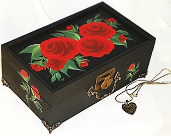Hand Painted Classic Jewelry Box with Mirror - Velvety Red Roses, Green Leaves - Bridal Jewelry Gift Box