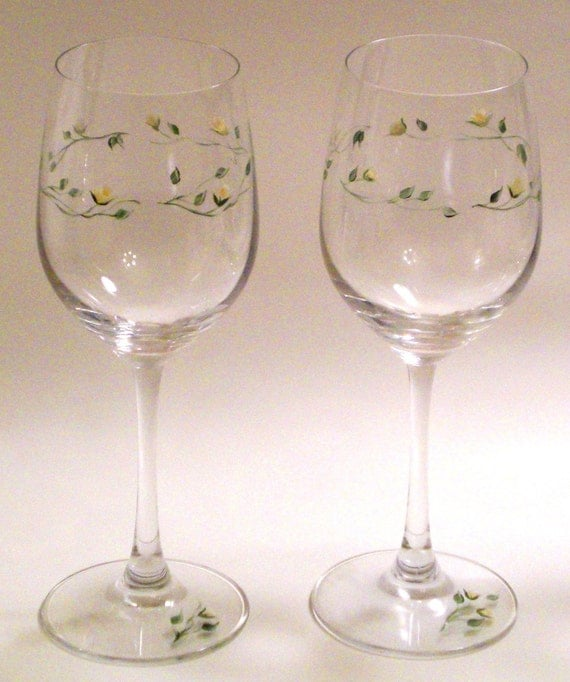 On Sale Hand Painted Wine Crystal Glasses Set Of Two