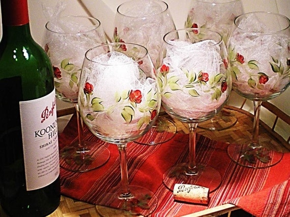 Hand Painted Wine Glasses  - Abstract Red Rose Design with Green Stems, Set of 8 Glassware Handpainted Rustic Wedding Gift Idea