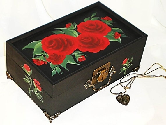 Hand Painted Jewelry Box with Mirror - Classic Red Roses, Green Leaves - HandPainted Keepsake Box Wedding Jewelry Box Rose Lover Gift Ideas