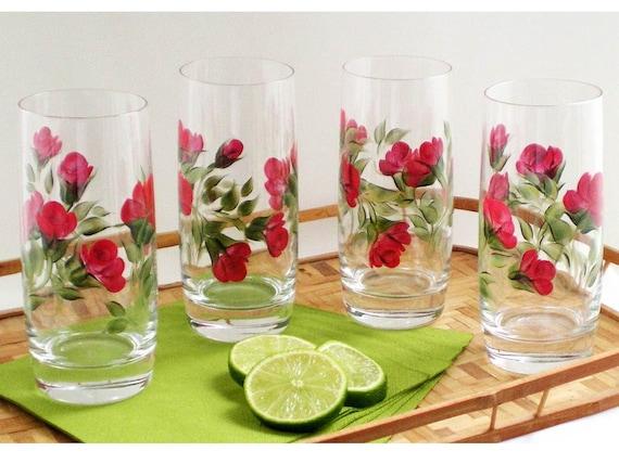 HandPainted Glasses - Deep Red Roses, Green Leaves, Set of 4 Iced Tea Beverage Beer Cocktail Drinking Glassware