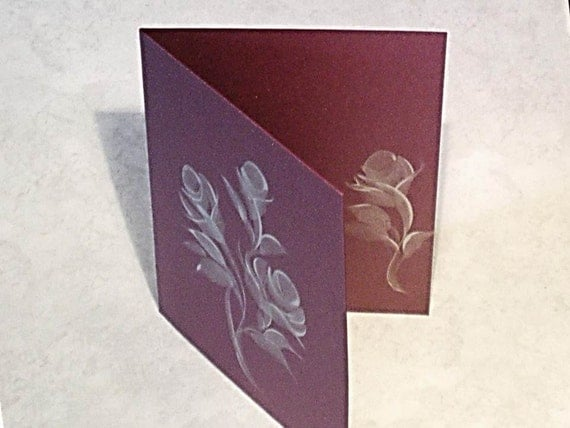 RESERVED for Wendy - Hand Painted Wedding Invitations - Silver Roses on Ruby Card Stock