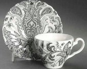 Vintage Black Transferware Paisley Toile  English Teacup Cup and Saucer