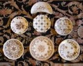 7 Mix n Match Brown Floral Transferware Plates for an INSTANT WALL DISPLAY