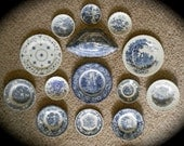 Set of 14 Different Vintage Blue Toile Transferware Plates Dishes Instant Wall Display or Collection