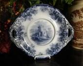 Circa 1850s Copeland Spode Ruins Flow Blue Transferware Handled Tray Platter Staffordshire