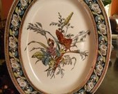 RESERVED FOR MARCELLA Victorian Aesthetic Movement Brown Turquoise Transferware Platter Spode W T Copeland Monarch Butterfly and Daisies
