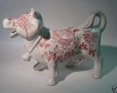 RARE Vintage English Red Transferware Laughing Cow Bull Creamer Pitcher Charlotte