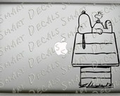 Snoopy & Woodstock on Doghouse small Macbook Laptop Vinyl Decal Sticker