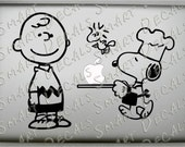 Chef Snoopy, Charlie Brown & Woodstock small Macbook Laptop Vinyl Decal Sticker