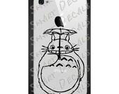 Totoro Smiling with Umbrella iPhone petite Vinyl Decal Sticker