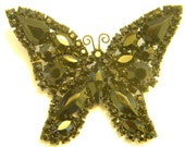 Vintage Black Rhinestone Butterfly Pin Brooch.  Designed signed WEISS