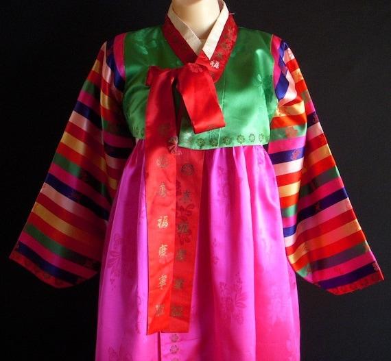 VINTAGE KOREAN HANBOK  THREE PIECES.  COLORFUL, TRADITIONAL, FUN.   KOREAN TRADITIONAL COAT. DRESS.  SILK.