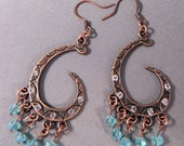 Earrings Copper Moon and Stars Neo Victorian Tribal Steampunk Inspired Now On Sale!