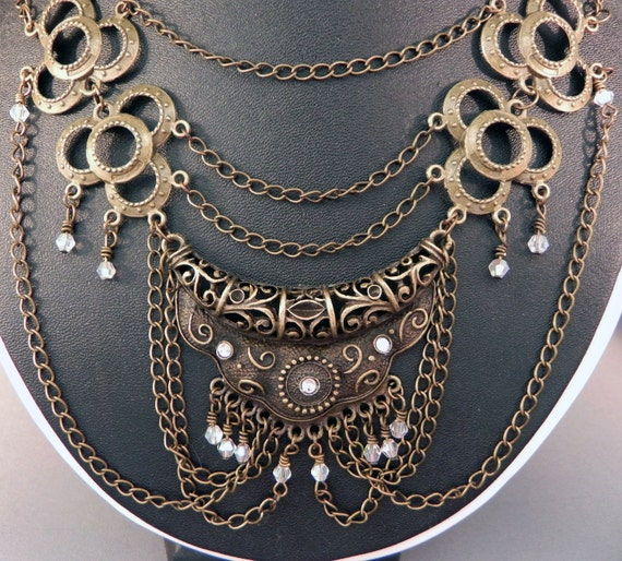 Necklace Elegant Brass Neo-Victorian Metals Steampunk Necklace Now On Sale!