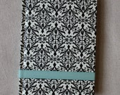 teal with black /white damask journal