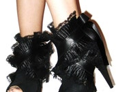 VICTORIA wrap around Leather, Lace, and Ruffle Shoe Cuffs