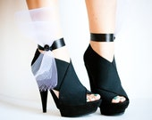 Black and White Bow Ankle Cuffs