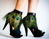 Peacock Feather Ankle Cuffs with band