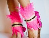WARRIOR Beaded Neon Pink Feather Ankle Cuffs - jdotdesigns