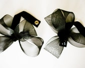 RESERVED -CUSTOM ORDER  Black Abstract Bow Wrist Cuff - 1 pc