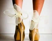 SALE Nude and Gold Abstract Bow Ankle Cuffs