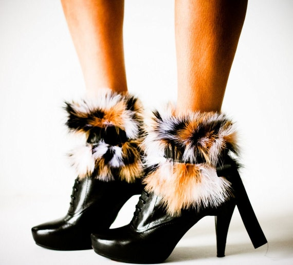 SALE Maribou Black, White, and Tan Feather Ankle Cuffs