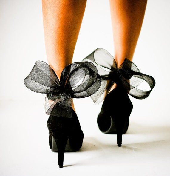 SPECIAL ORDER Black Abstract Bow Ankle Cuffs