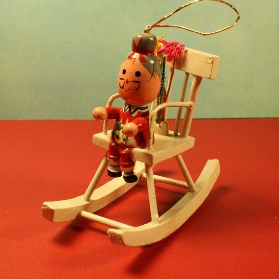 Granny In Rocking Chair Vintage Wooden Christmas Ornament
