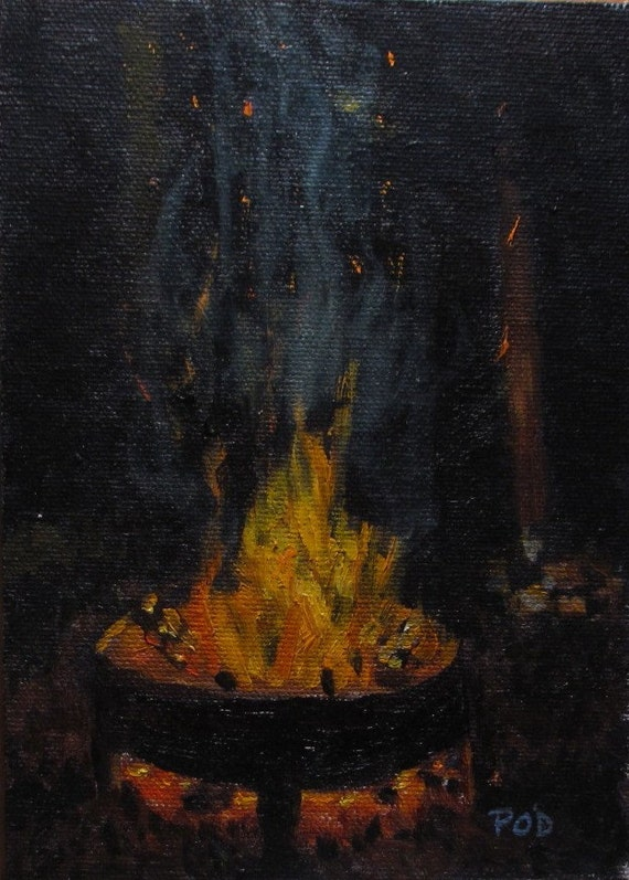 Campfire 7x5 original oil painting Campfire Painting