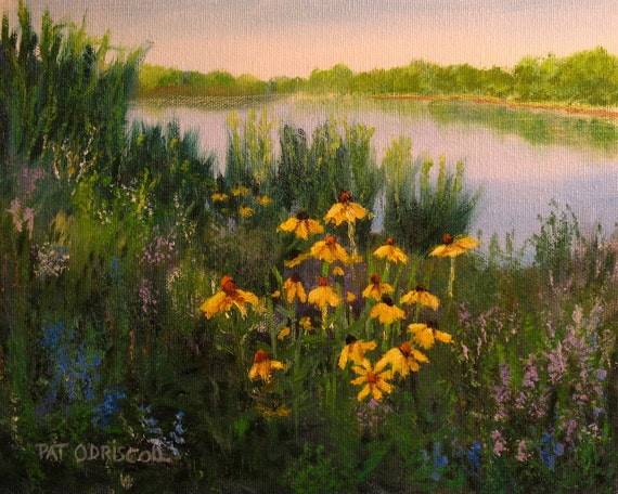 Oil painting,  Coneflowers, 8x10