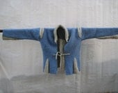 FRANKENSWEATER- Cornflower Blue with  Wispy Cloud Grey Insets- Medium