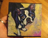 Boston Terrier- 4x4 Print on Canvas of Original Acrylic Painting