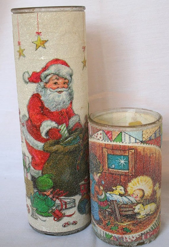 Vintage Christmas Glittery Frosted Glass Nativity Candle