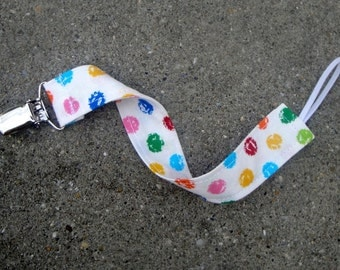 Fabric Pacifier Clip- Polka Dots