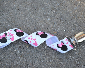 Ribbon Pacifier Clip- Minnie Mouse
