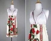 48 hr SALE 1970s Hawaiian Halter Mini Dress // 70s Vintage ALFRED SHAHEEN Dress // Xsmall Small