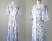 Vintage 1930s Dress // 30s Sheer White Cotton Voile Dress // small